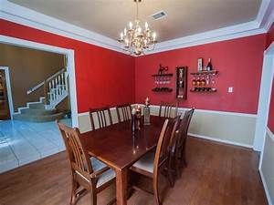 cheerful red white two tone wall paint ideas feats vintage With two tone dining room color ideas