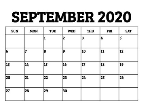 printable september  calendar  holidays