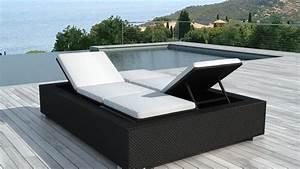 Transat Double Jardin : bain de soleil en resine tress e noire 2 personnes darwin ~ Teatrodelosmanantiales.com Idées de Décoration