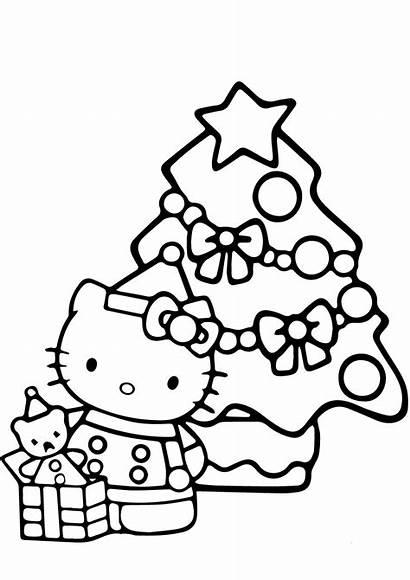 Christmas Kitty Tree Coloring Pages Printable Hello