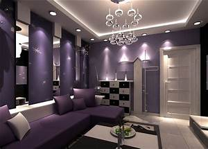 Ktv interior design with purple sofa 3d house free 3d for Purple living room designs