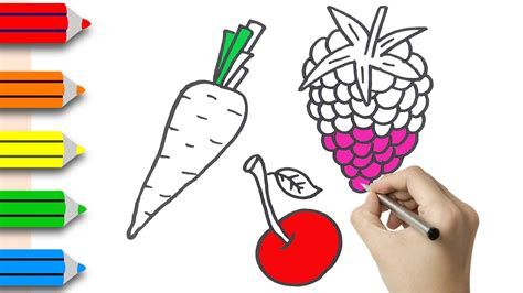 draw fruits coloring pages  kids learning