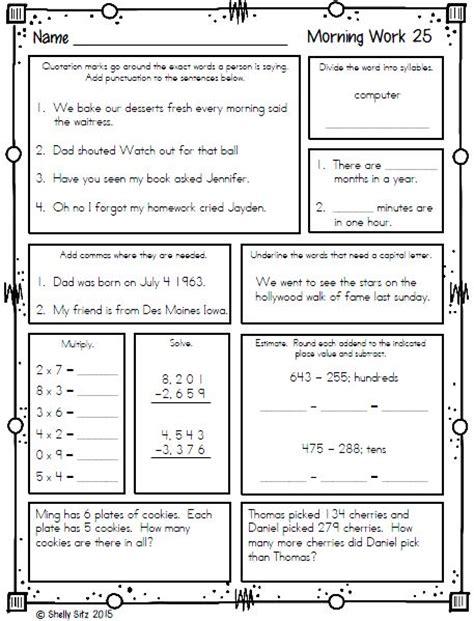 3rd grade math spiral review worksheets 6th grade math