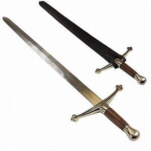Medieval Scottish Claymore Sword With Leather Scabbard