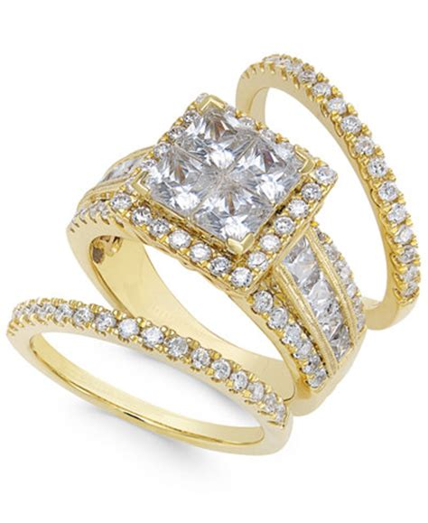 cluster bridal 3 1 2 ct t w in 14k gold rings jewelry watches macy s