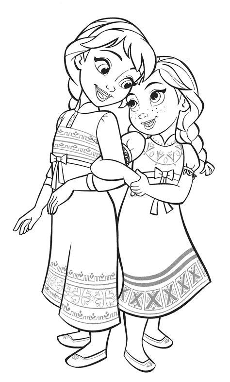 Раскраска Холодное Сердце 2 Анна и Эльза в детстве