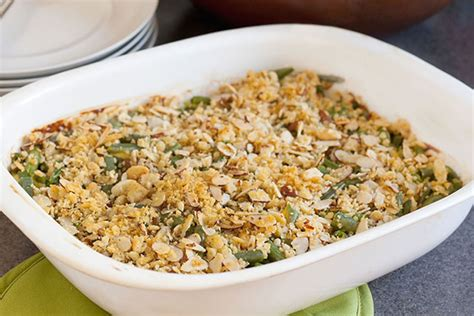 cheesy green bean casserole  almond topping kraft