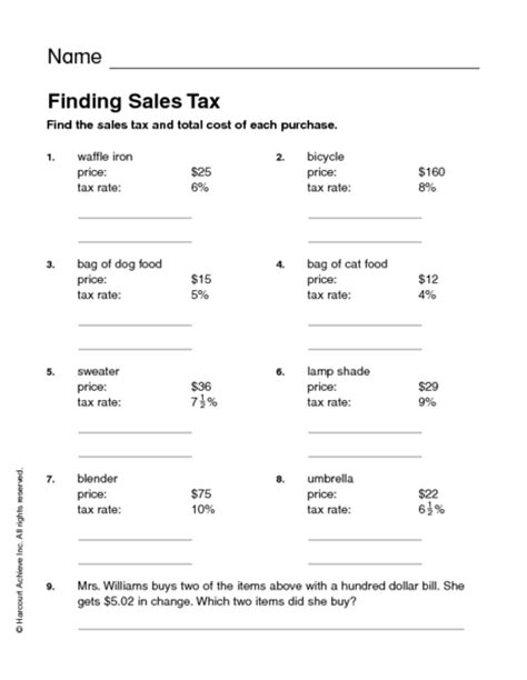 Printables Sales Tax Worksheet Lemonlilyfestival Worksheets Printables