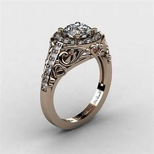 italian 14k rose gold 10 ct white sapphire diamond With italian gold wedding rings