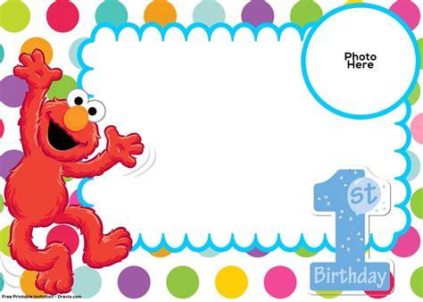 happy 1st birthday card template free sesame 1st birthday invitation template elmo