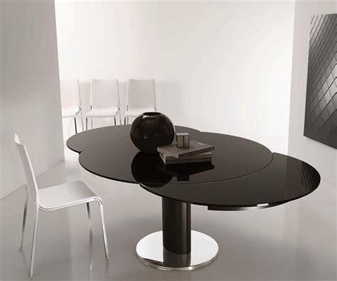 table de cuisine pied central table ronde verre laqué noir design bontempi casa sur cdc
