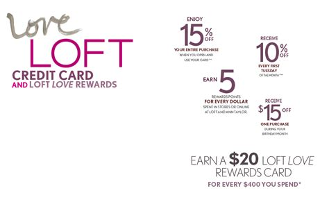 Not only do new cardholders receive 15% off their first purchase when they open and use their card for the first time, but all cardholders will receive 15% off ann inc. ATCard: LOFT
