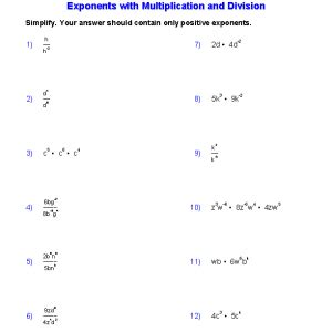 multiplication and division of exponents worksheets for