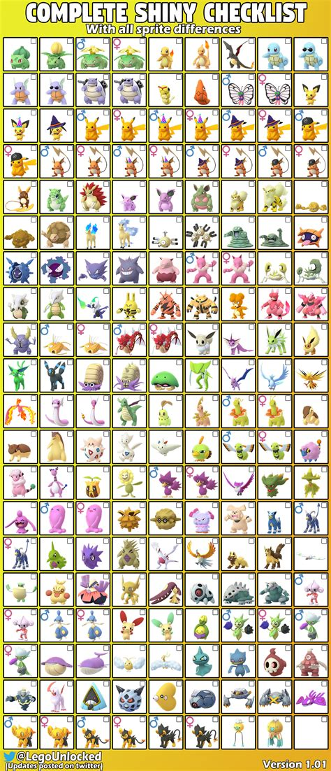 complete shiny checklist    sprite differences