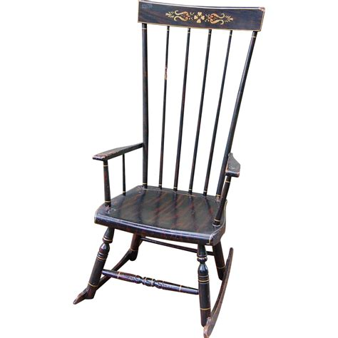 antique grain painted high back rocking chair from