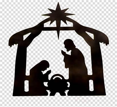 Nativity Manger Transparent Silhouette Clipart Scene Jesus