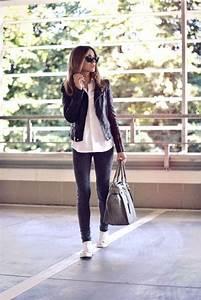 Tenue A La Mode : jean chemise blanche et la veste en cuir noir tenue ~ Melissatoandfro.com Idées de Décoration