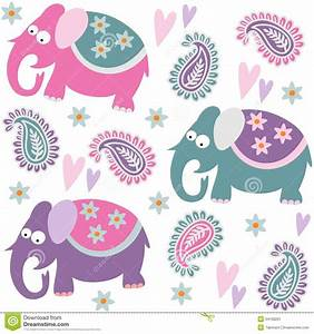 Seamless Elephant Kids Pattern Wallpaper Background With