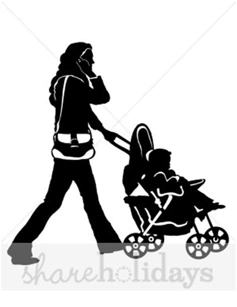 stroller mom silhouette clipart mothers day clipart