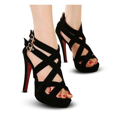 Wedges Hitam V 2models sepatu high heels wanita s022 gladiator 06