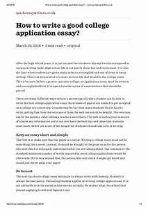 How to write a good college application essay —  quickessaywriter…
