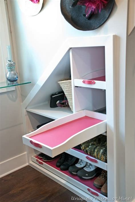 Decorating Ideas Dormer Space by Dormer Window Space Built In Shoe Shelves In Knee Wall