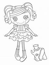Coloring Doll Lalaloopsy Peanut Button Dolls Pretty Printable Mermaid Sheets Paper Drawing sketch template