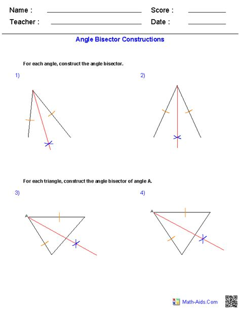 angle bisector worksheet geometry worksheets constructions worksheets