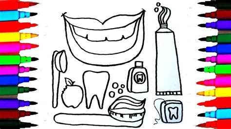draw dentist kit  dental care coloring drawing