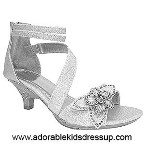 kids high heels kids pageant shoes silver glitter