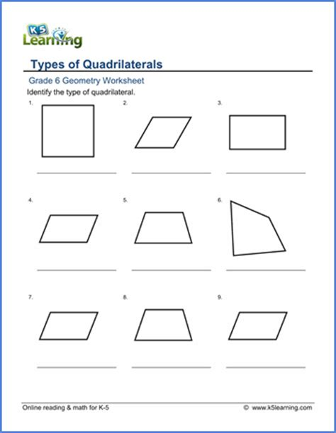 math worksheets classifying quadrilaterals grade 6 math worksheet geometry classifying