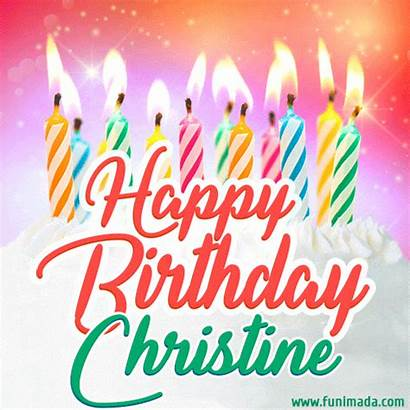 Christine Birthday Happy Cake Candles Cards Lit