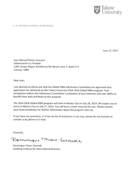 global mba admission letter tulane university