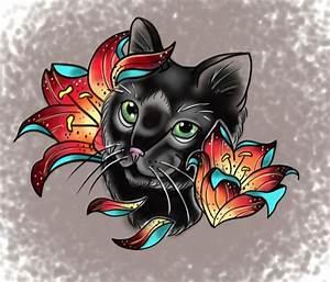 Black cat and lilies tattoo flash   My arts.   Pinterest