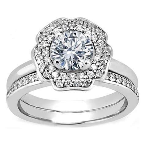 Flower Double Halo bridal set Diamond Engagement Ring & Matching Wedding Band   ? JEWELS