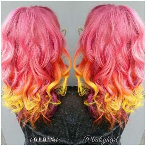 Sunset Fire Tones With Human Hair Extensions