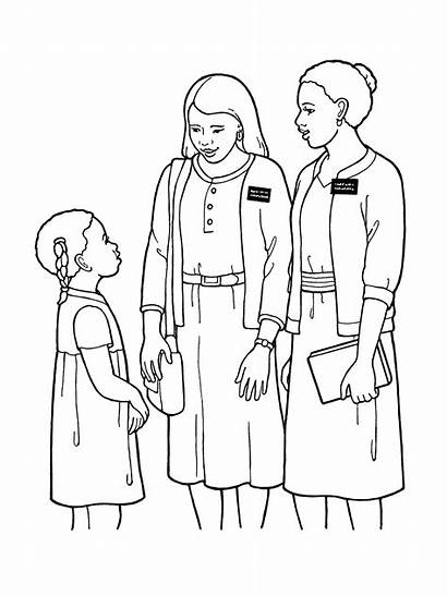 Lds Missionary Sister Clipart Coloring Missionaries Pages