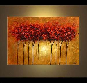 Landscape Red Blooming Trees Painting Original Abstract ...