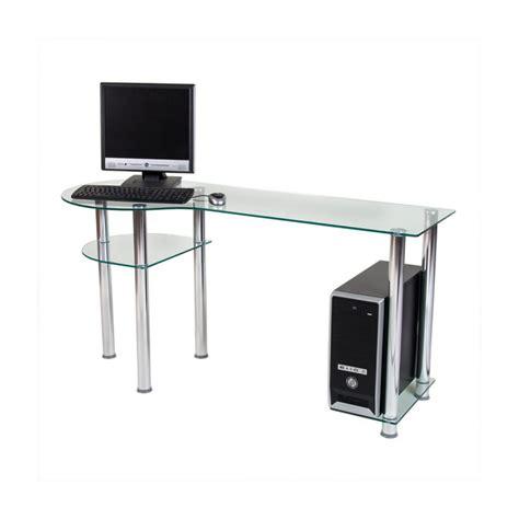 bureau pour ordinateur en verre clair 145x60x72cm