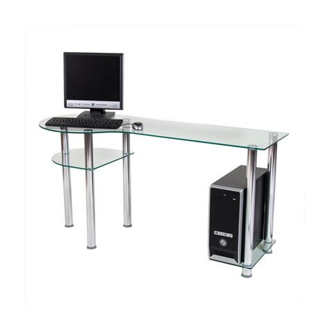 verre pour bureau bureau pour ordinateur en verre clair 145x60x72cm
