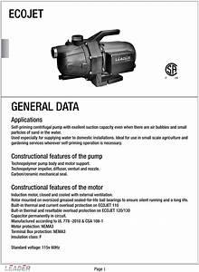 Leader Ecojet Pumps Data Sheet