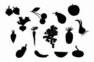 Set Of Fruit And Vegetable Silhouette Stock Vector ...
