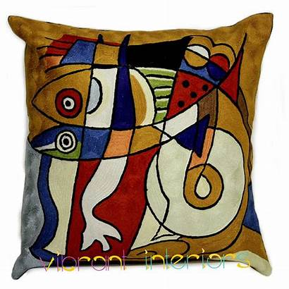 Cubism Picasso Cushion Fish Modern Pillow Contemporary