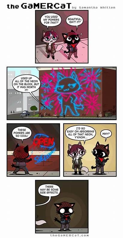 Cat Gamer Gamercat Comics Comic Funny Neon