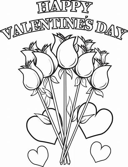 Coloring Flowers Happy Valentine Valentines Printable
