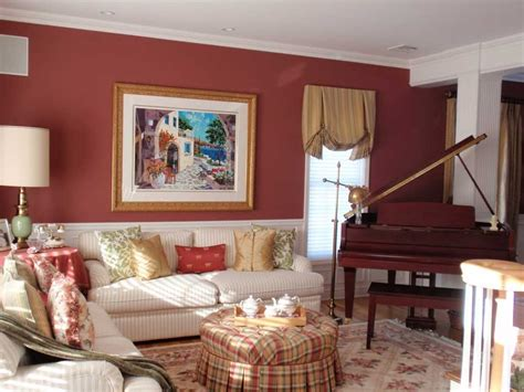 Red wall designs for living rooms with elegant wainscoting