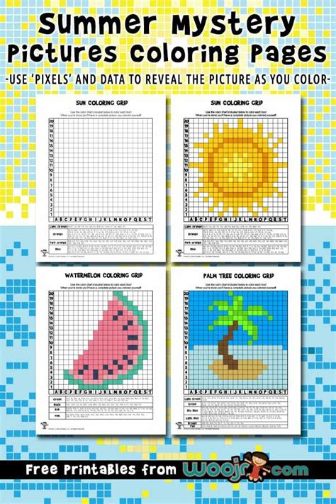 summer mystery pictures pixel grid coloring pages woo jr kids activities mystery pictures