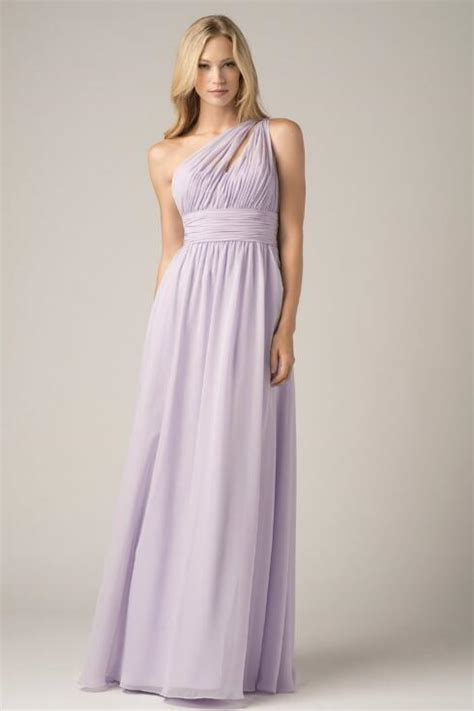 pretty light purple  shoulder bridesmaid dresses