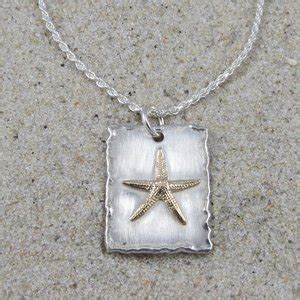 sterling silver square pendant   gold starfish