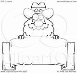 Miner Prospector Banner Cartoon Clipart Coloring Parchment Chubby Cory Thoman Outlined Vector sketch template
